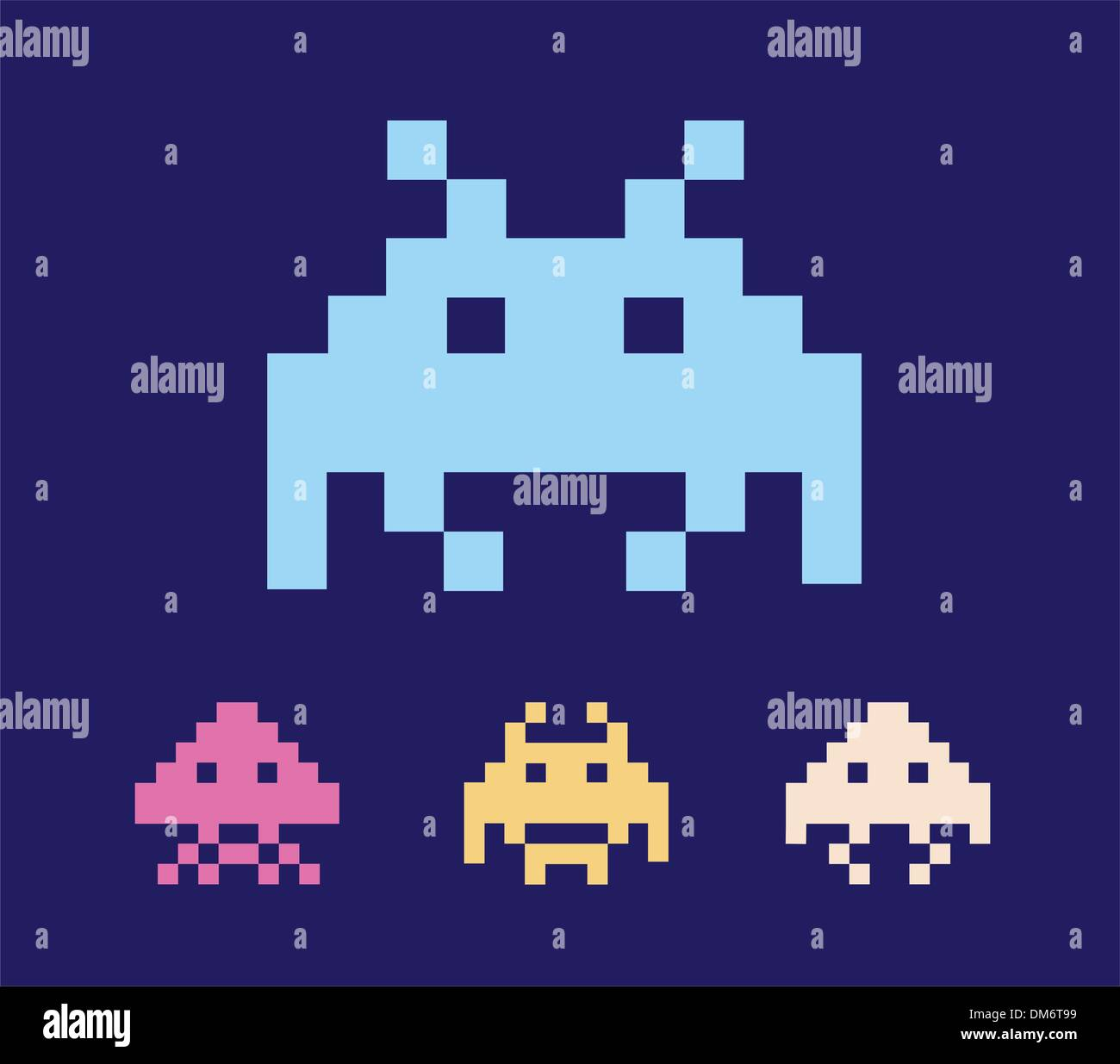space invaders DM6T99 space invaders game stock photos & space invaders game stock images