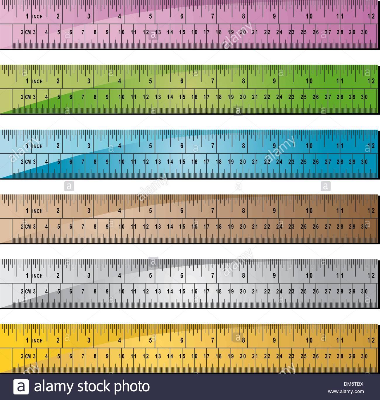Metal or Wooden Ruler Set of 6 - Stock Vector