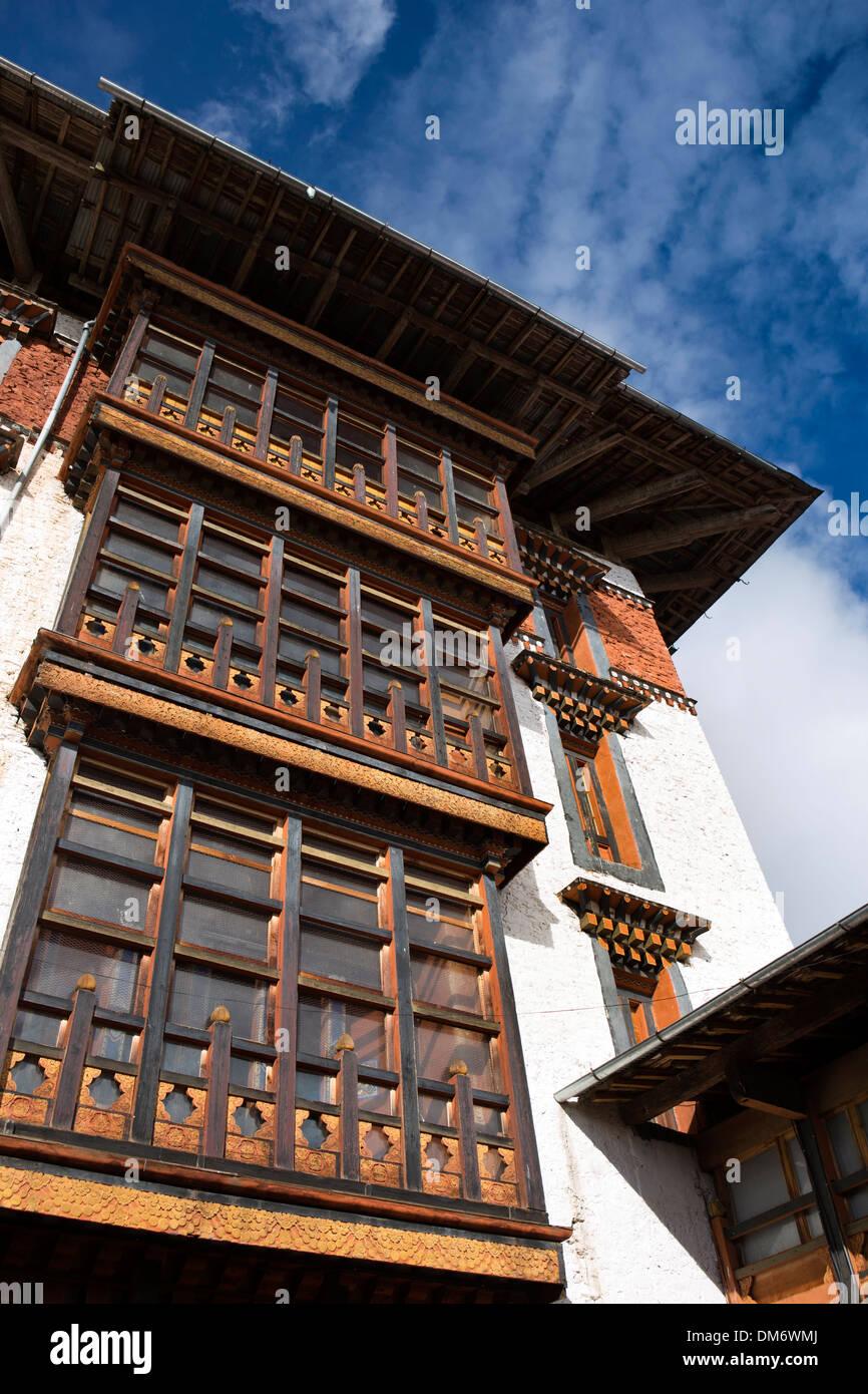 Bhutan, Bumthang Valley, Jakar Dzong, decorated structure of prayer hall tower - Stock Image