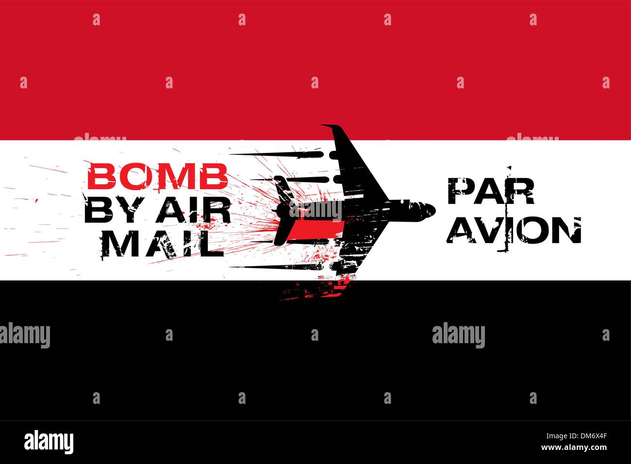 Yemen flag and Bomb by air mail Stock Vector