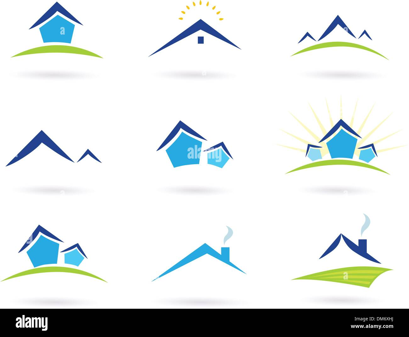 Real estate / houses logo icons isolated on white - blue and green - Stock Vector