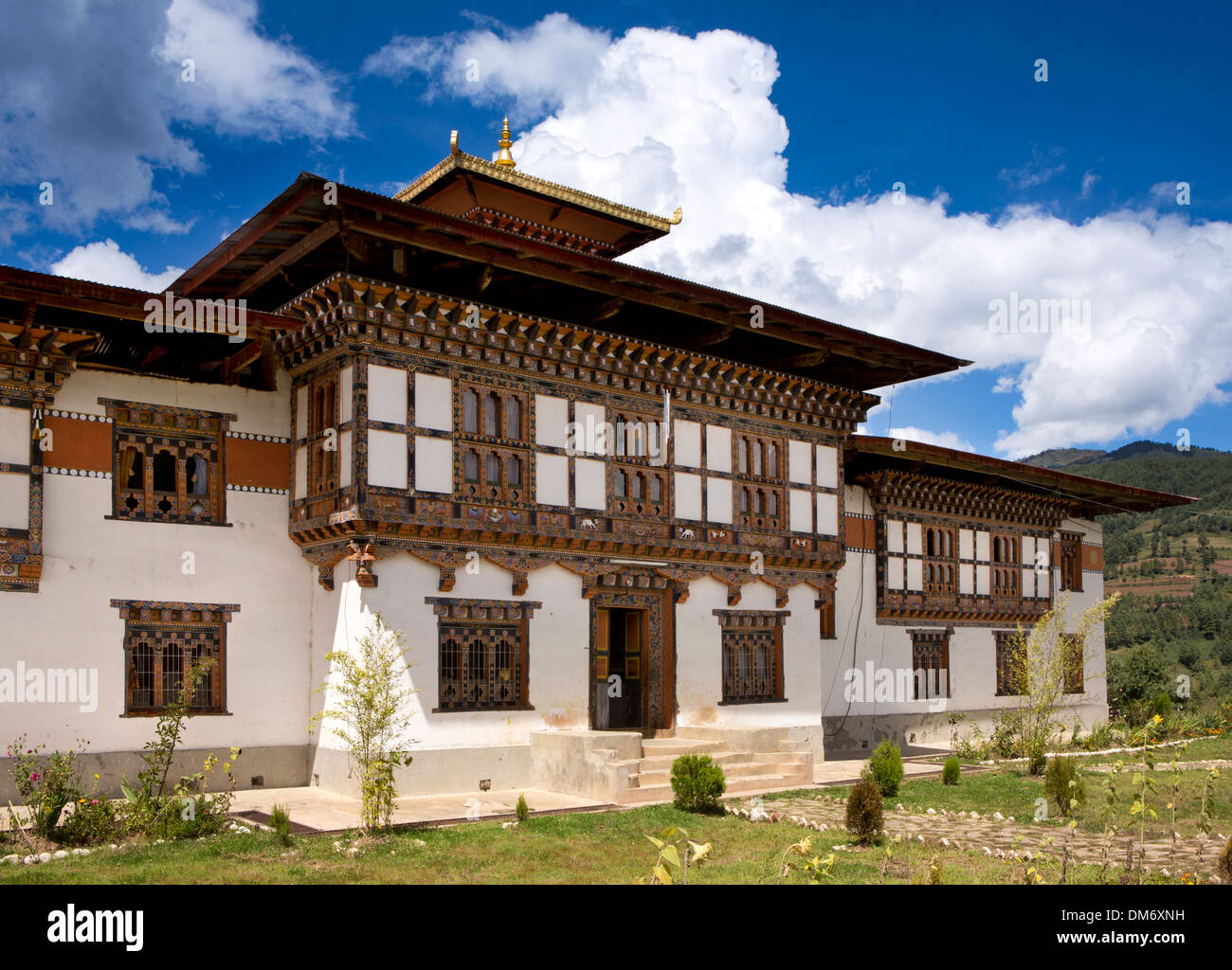 Bhutan, Bumthang Valley, front of Nunnery above Membar Tsho, Burning Lake - Stock Image