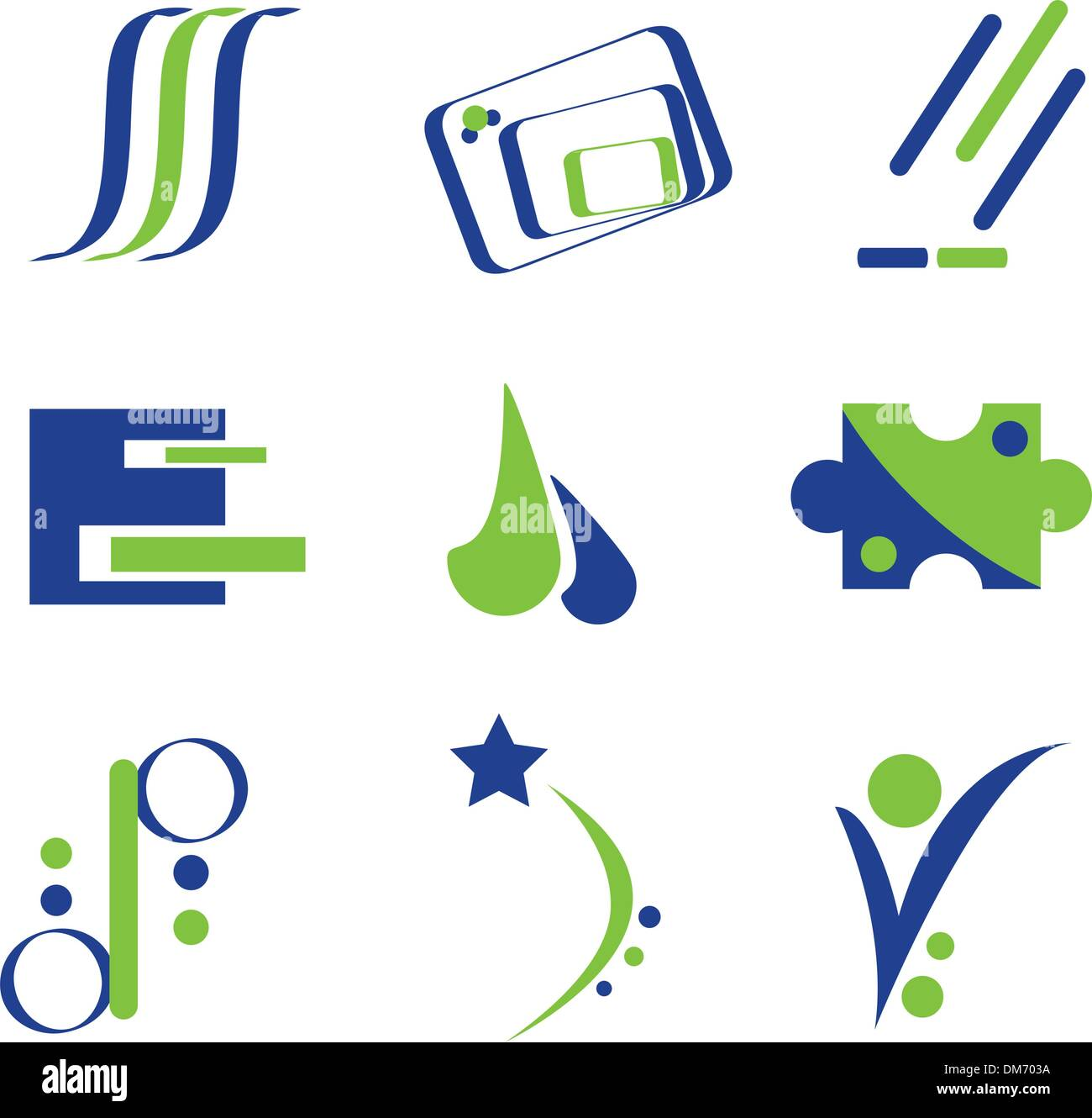 Blue and Green Logo Elements - Stock Image