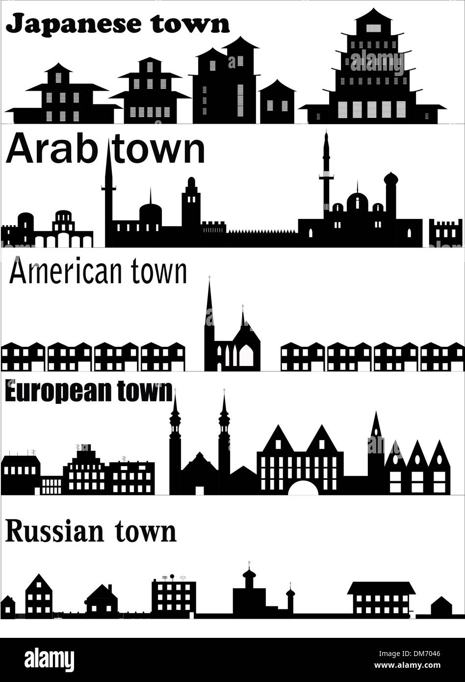 Detailed vector skylines of different towns - Stock Image