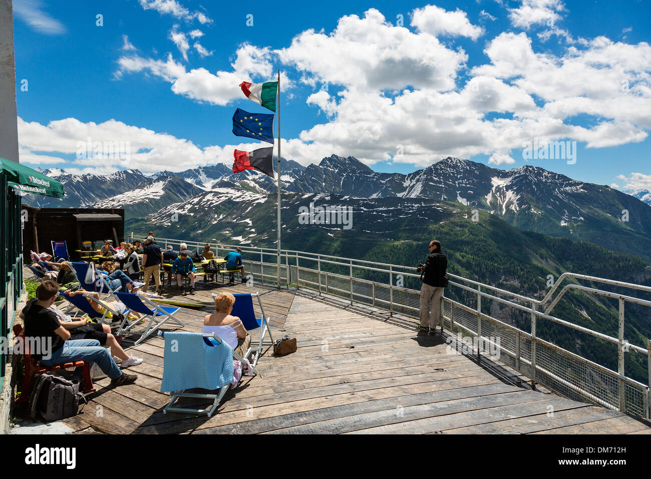 Italy, Valle d'aosta, Observation Point at Pavillon du Mont Frety - Stock Image