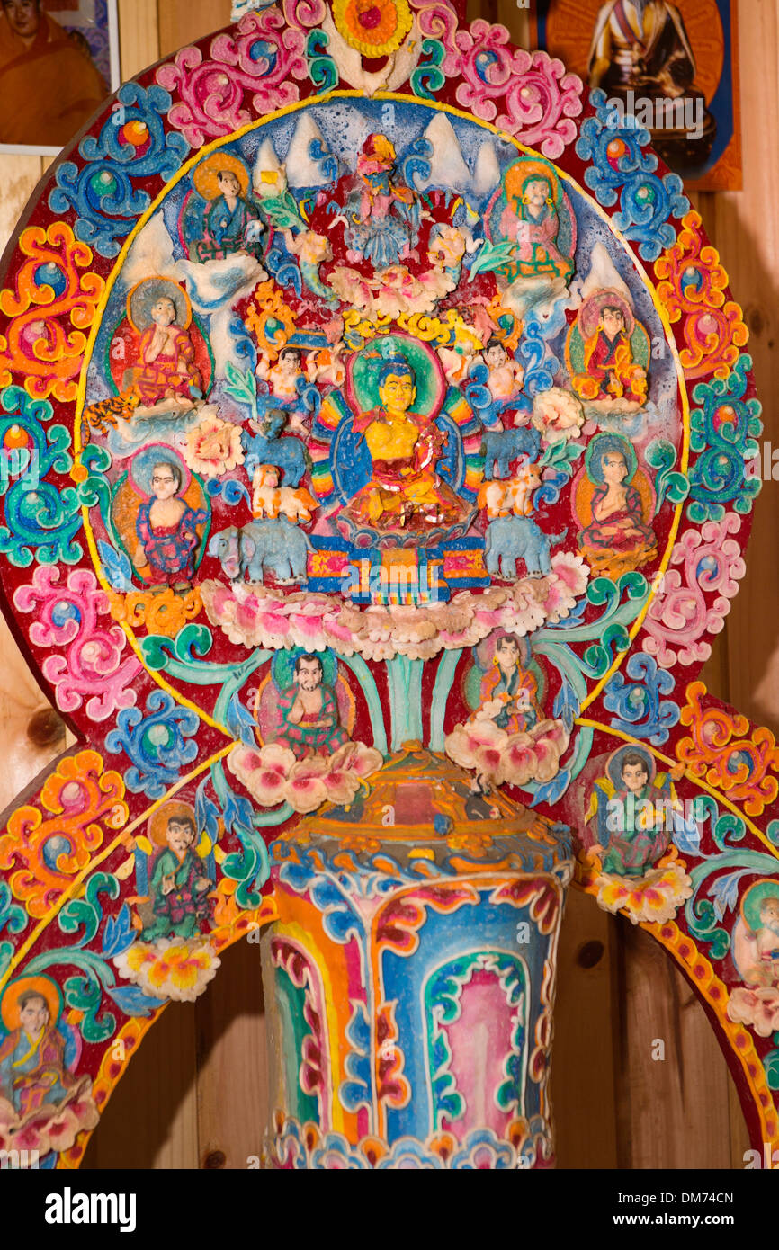 Bhutan, Bumthang Valley, ornate colourful temple altar decoration made from butter - Stock Image