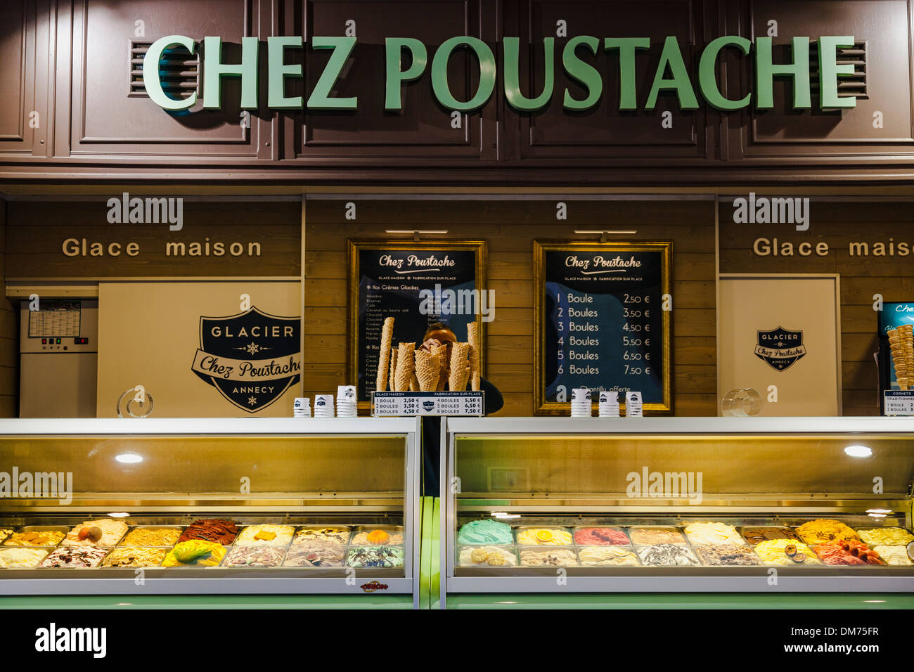 Chez Poustache ice-cream parlour in Annecy old town, Annecy, Savoie, France - Stock Image
