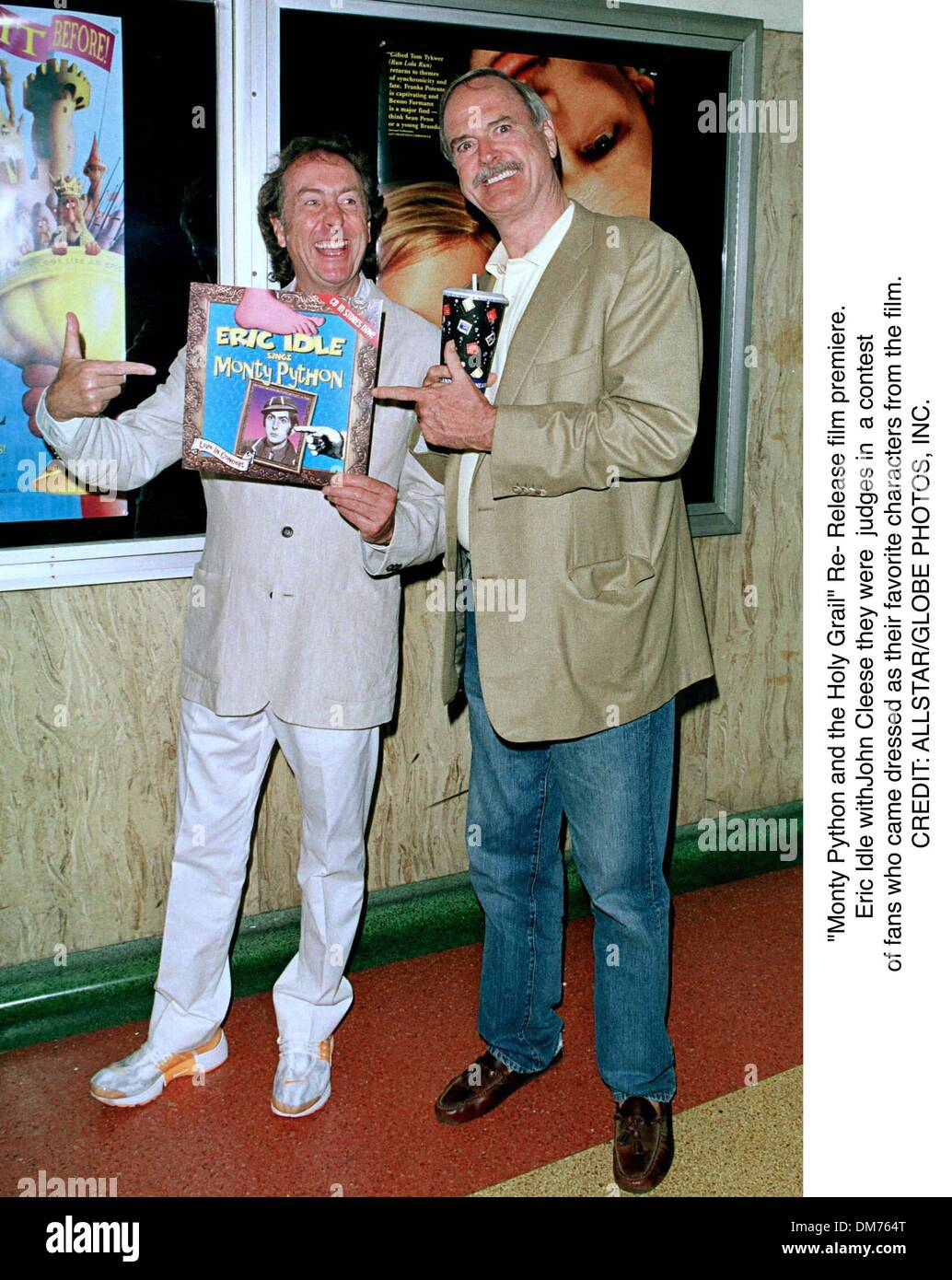 ''Monty Python and the Holy Grail'' Re- Release film premiere.Eric Idle withJohn Cleese they were judges in a contest .of fans who came dressed as their favorite characters from the film. - Stock Image