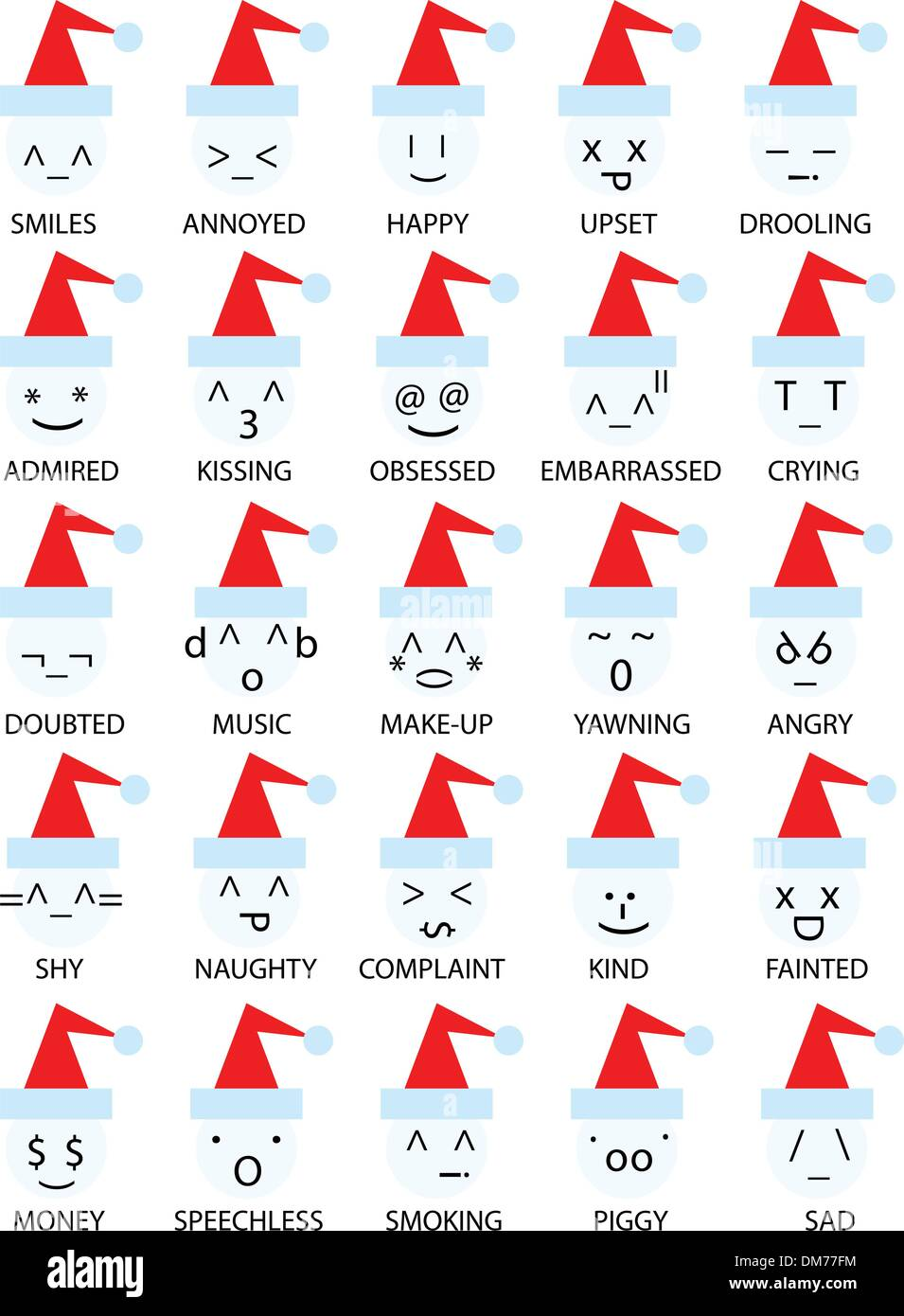 christmas emoticons smiley - Stock Image