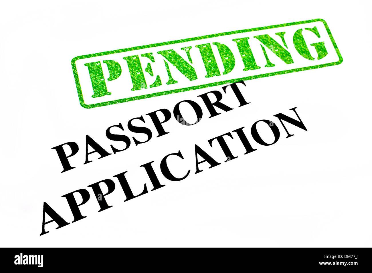 Passport Application is PENDING. Stock Photo