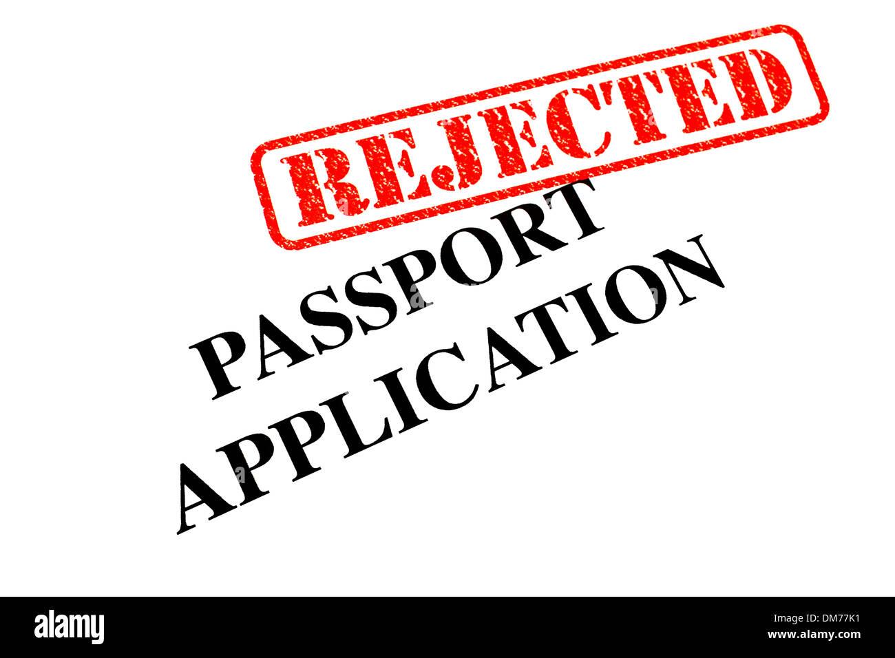Passport Application has been REJECTED. Stock Photo