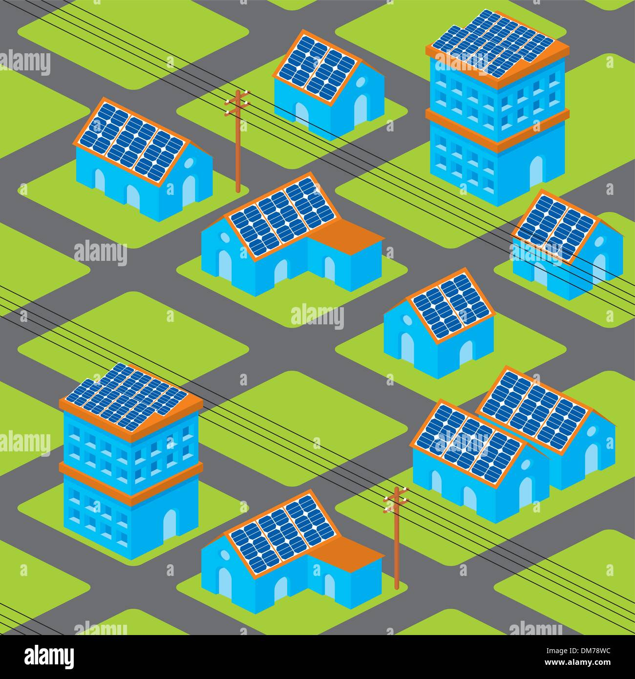 Solar houses pattern - Stock Vector