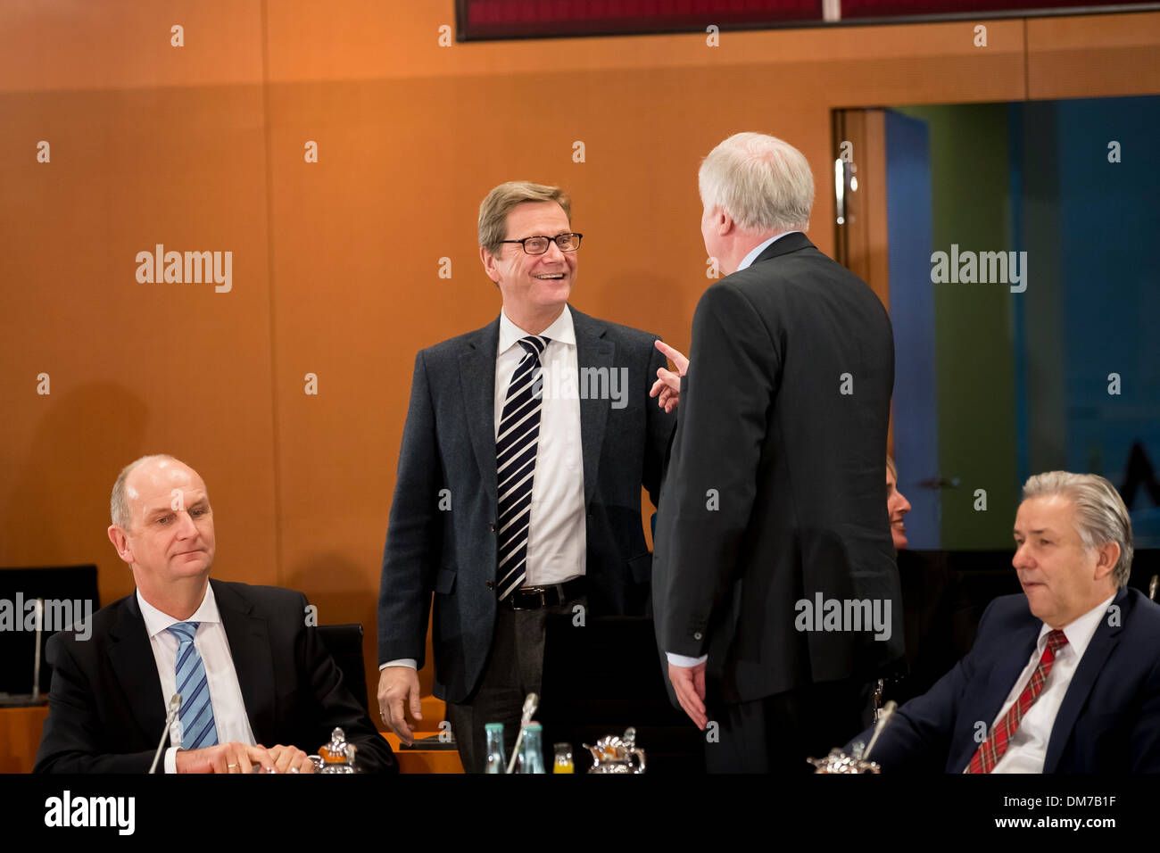 Berlin, Germany. December 12th, 2013. Chancellor Merkel and Interior Minister Friedrich meet with the Prime Ministers Stock Photo