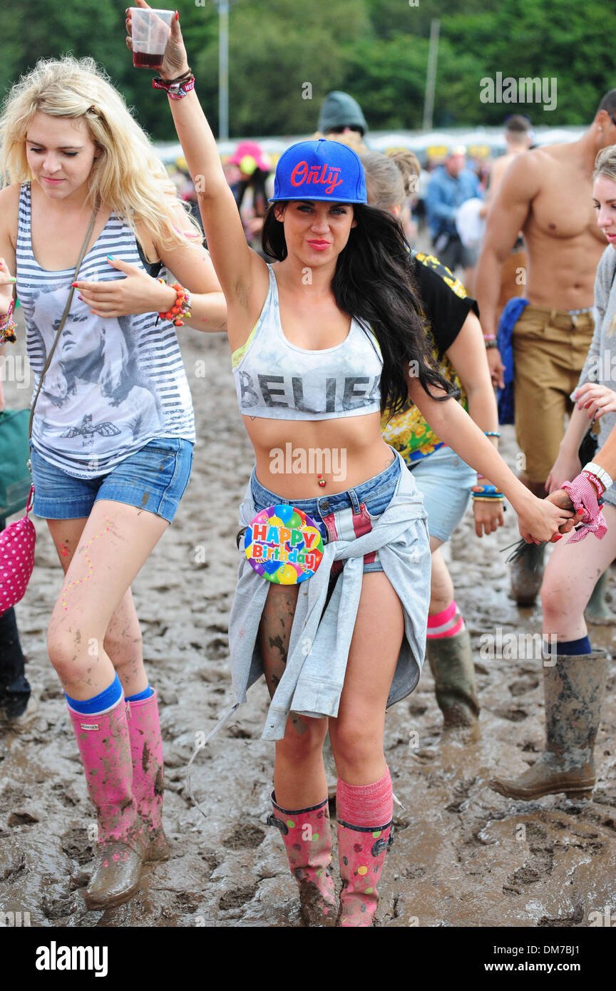 Creamfields organisers have reportedly stopped entry to festival site due to heavy rainfall over last day A statement Stock Photo