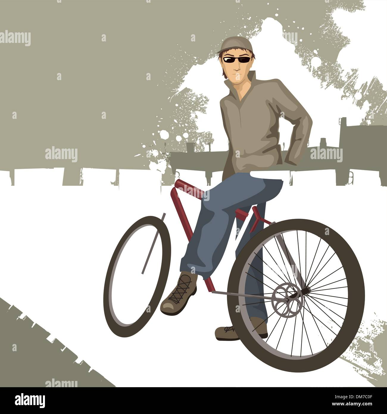 young man on a bicycle - Stock Image