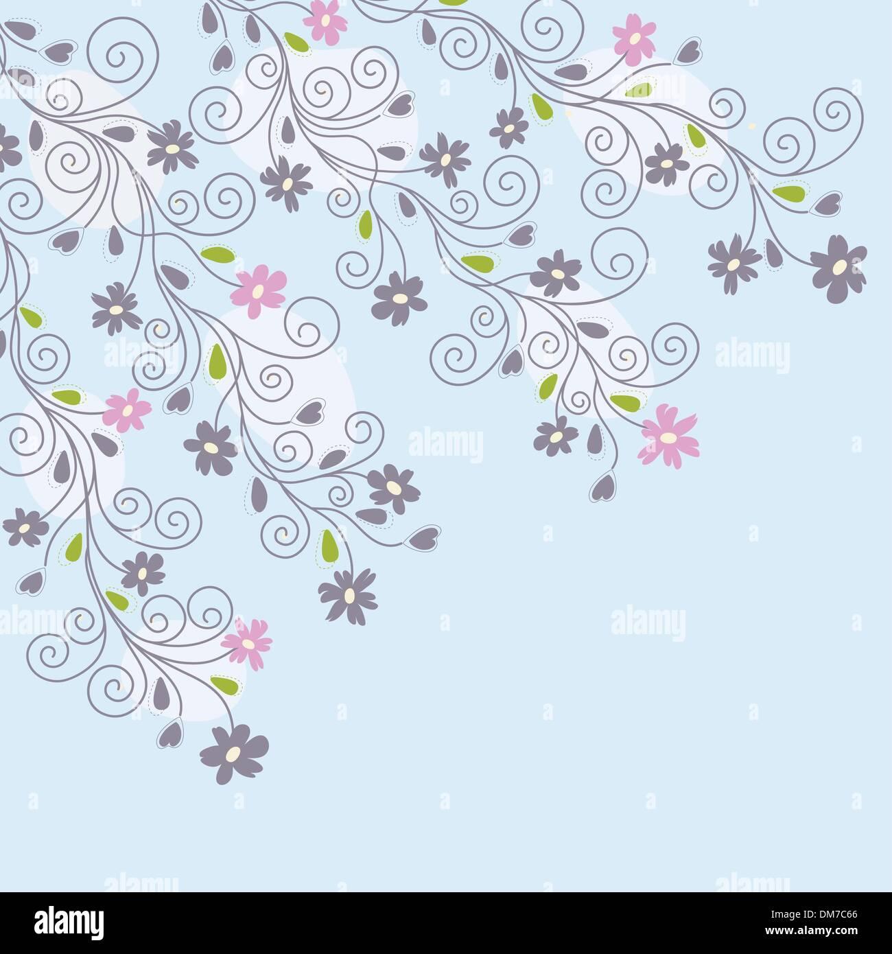 Cute Light Blue Floral Background Stock Vector Art Illustration