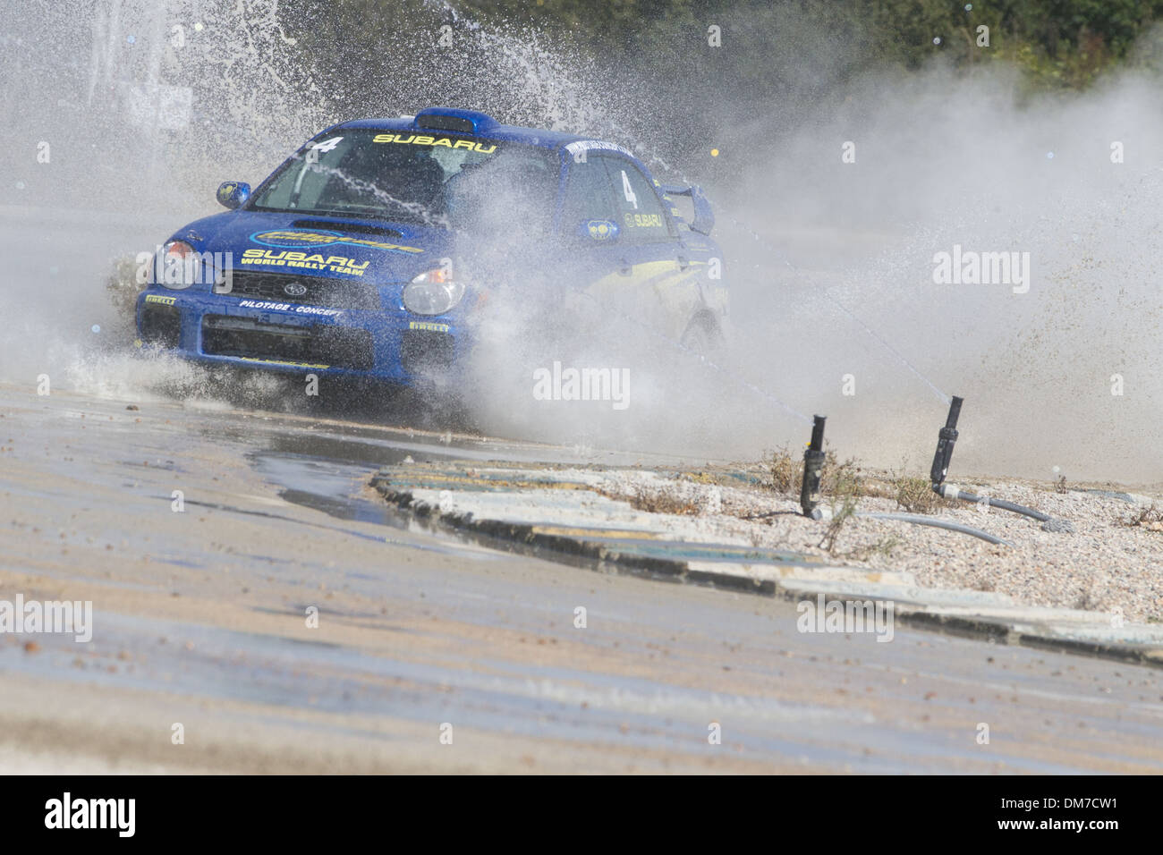 SUBARU SKIDDING ON THE WET RACE TRACK, PRO'PULSION, GT-RALLYE COURSES ON A RACE TRACK, DREUX, EURE-ET-LOIR (28), FRANCE - Stock Image