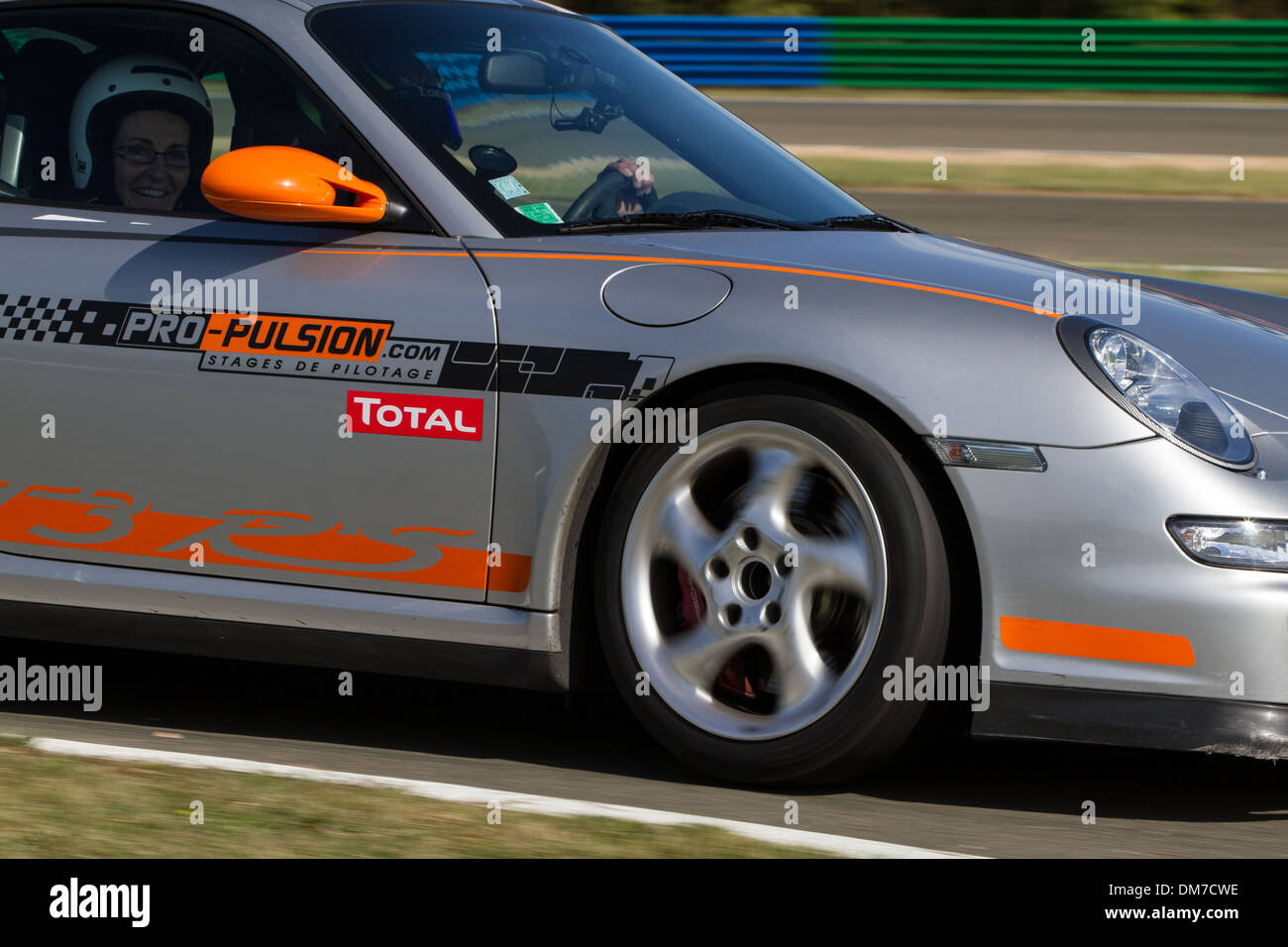 PORSCHE 997 GT3 ON THE TRACK, PRO'PULSION, DRIVING COURSES ON A RACE TRACK, DREUX, EURE-ET-LOIR (28), FRANCE - Stock Image