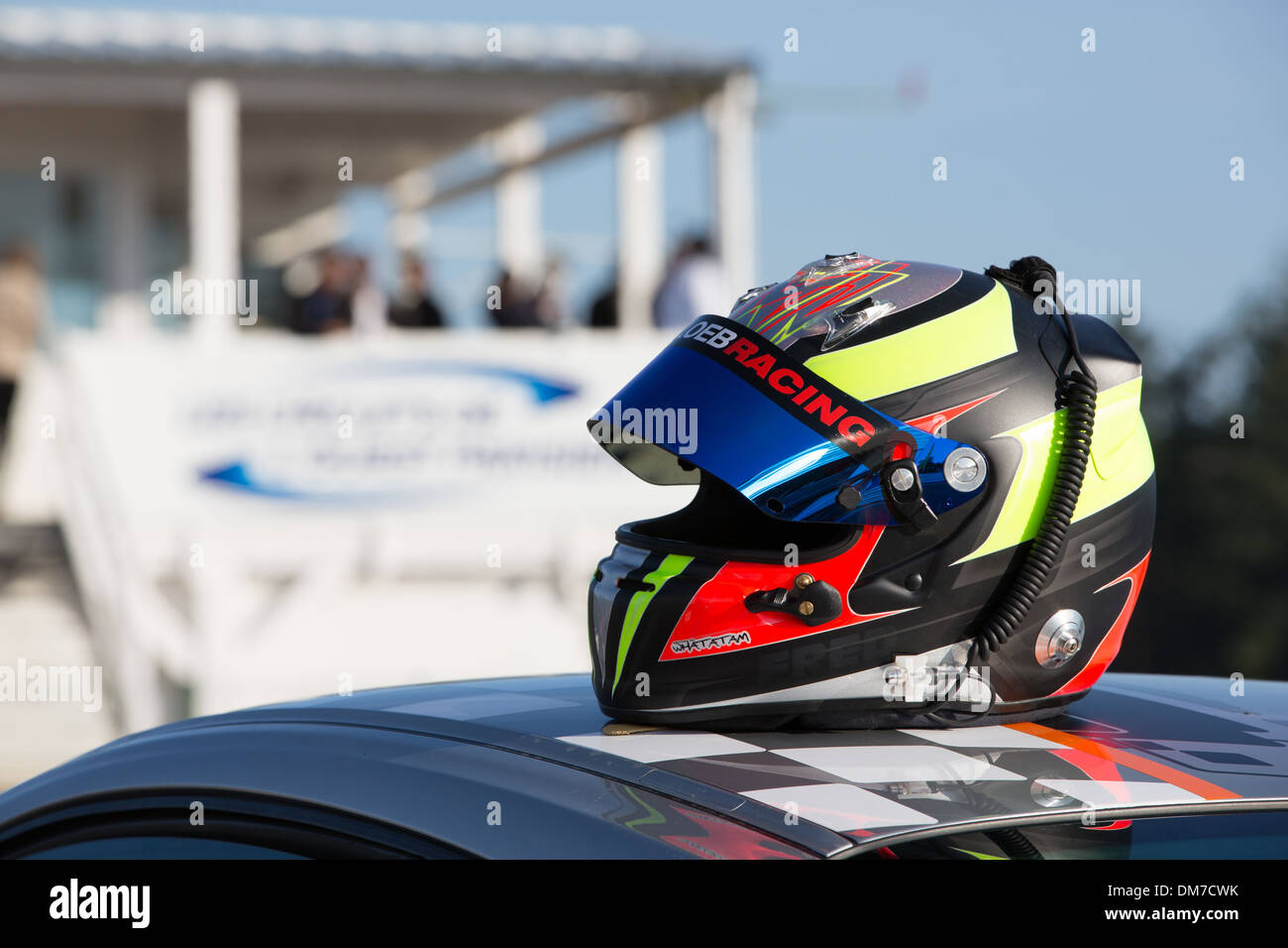 RACING HELMET, PRO'PULSION, DRIVING COURSES ON A RACE TRACK, DREUX, EURE-ET-LOIR (28), FRANCE - Stock Image