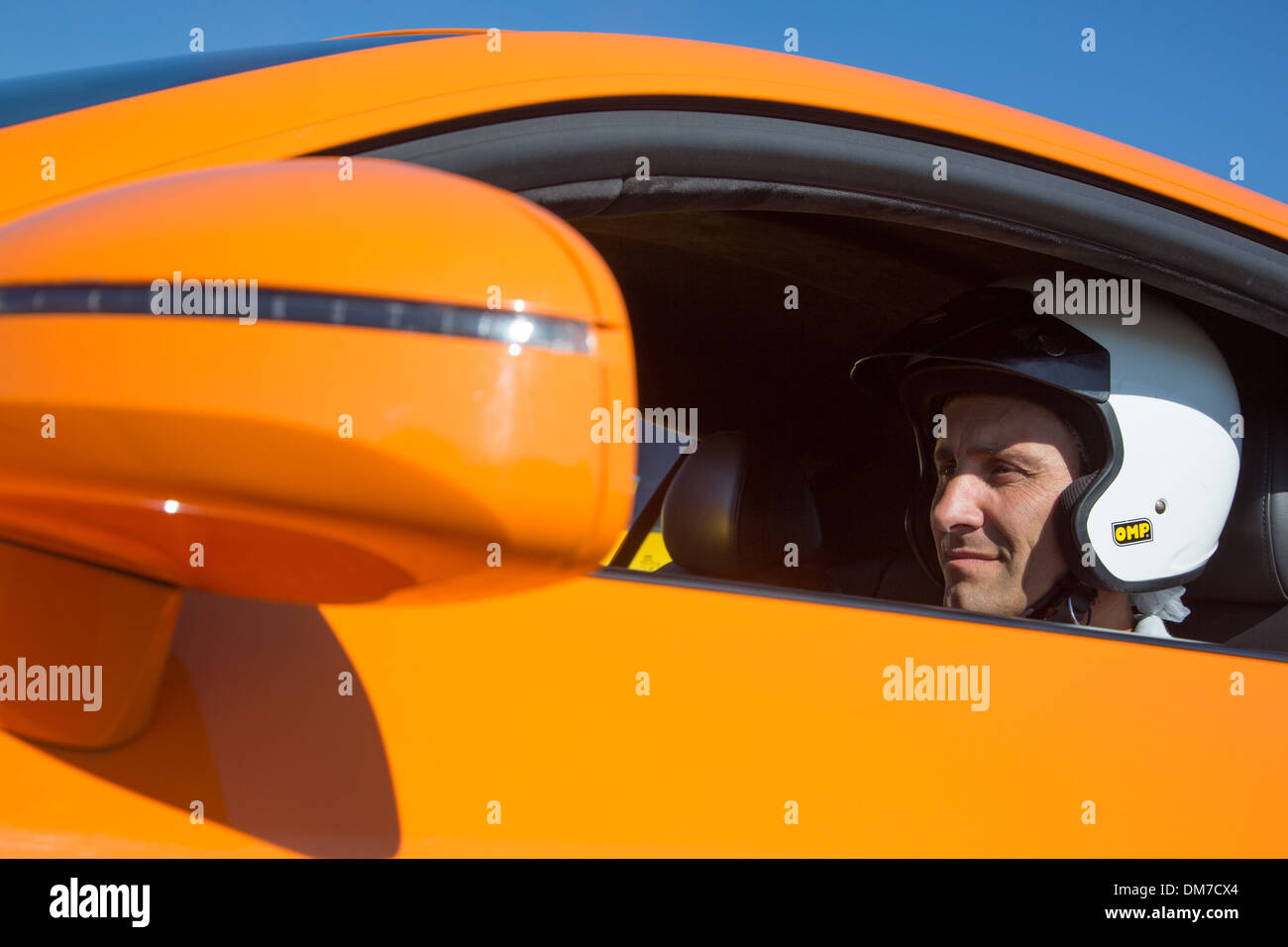 A PUPIL AT THE WHEEL OF AN AUDI R8, PRO'PULSION, DRIVING COURSES ON A RACE TRACK, DREUX, EURE-ET-LOIR (28), FRANCE - Stock Image