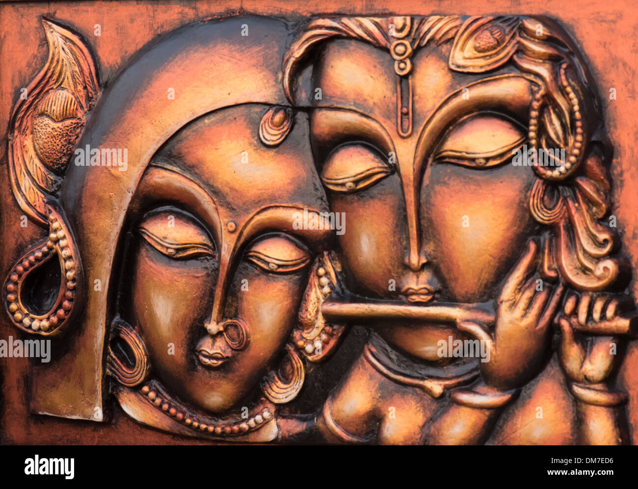 Terracotta image of Lord Krishna and Radha - his Consort. - Stock Image
