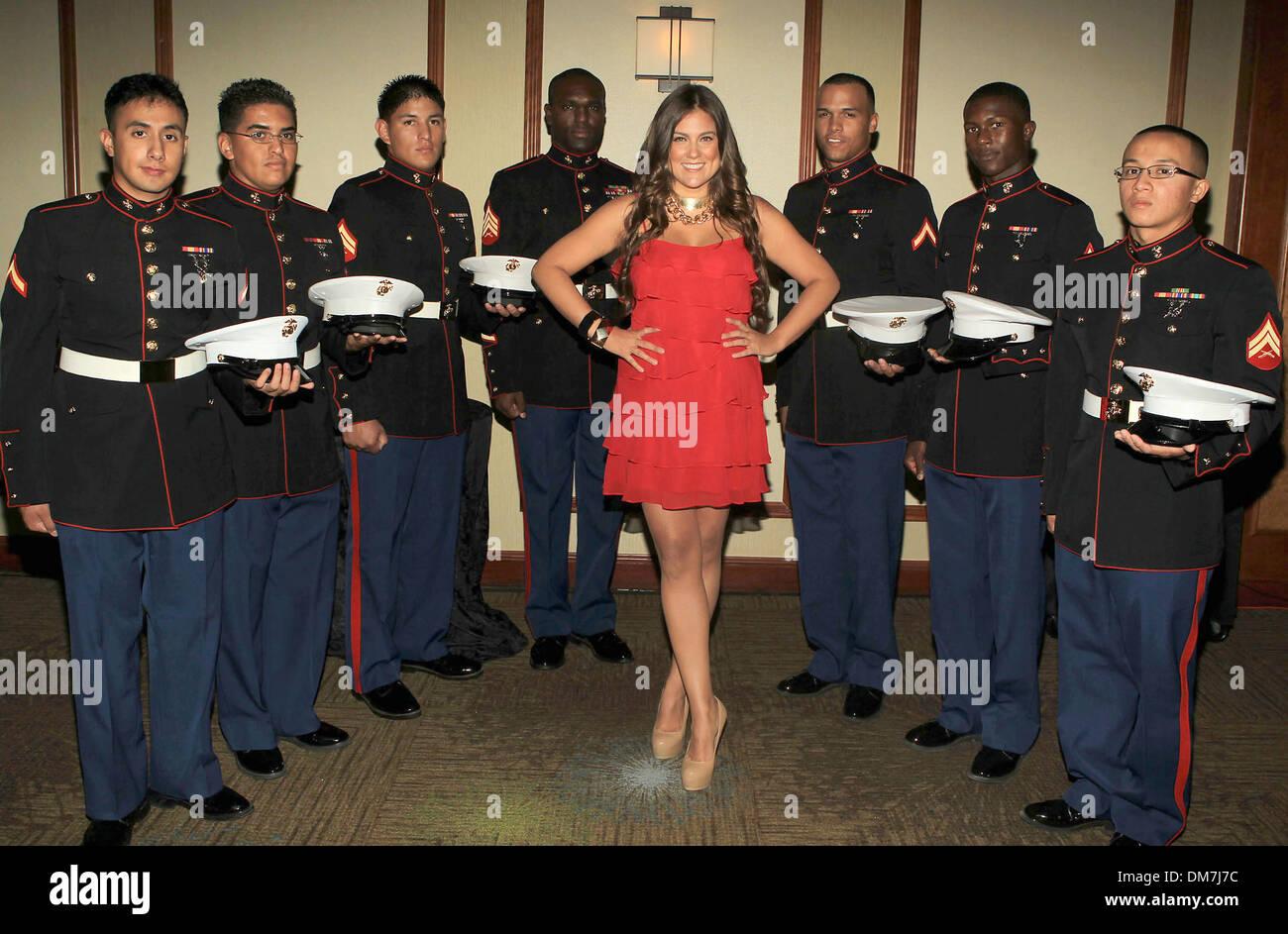 Raquel Castaneda with US Marine Corp Stonewall Young Democrats 6Th Annual Hero Awards held at Westin Bonaventure Stock Photo