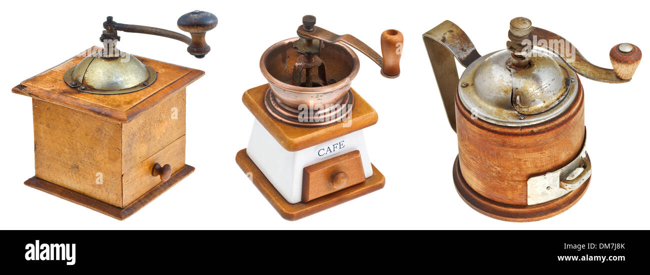 set of retro manual coffee mills isolated on white background - Stock Image