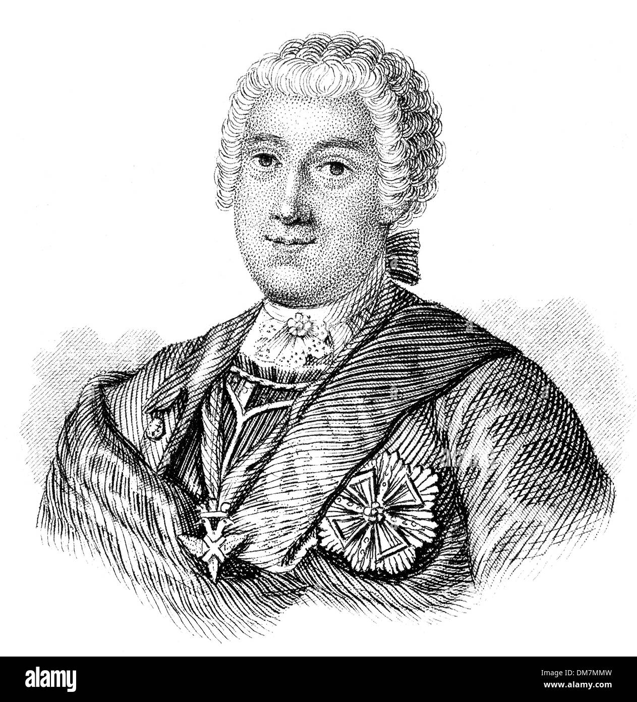 Heinrich, count von Brühl, 1700 - 1763, a German statesman at the court of Saxony and the Polish–Lithuanian Commonwealth, - Stock Image