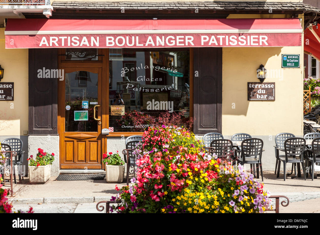 Artisan boulanger and patissier shop in the village of Beaufort, Savoie, France - Stock Image