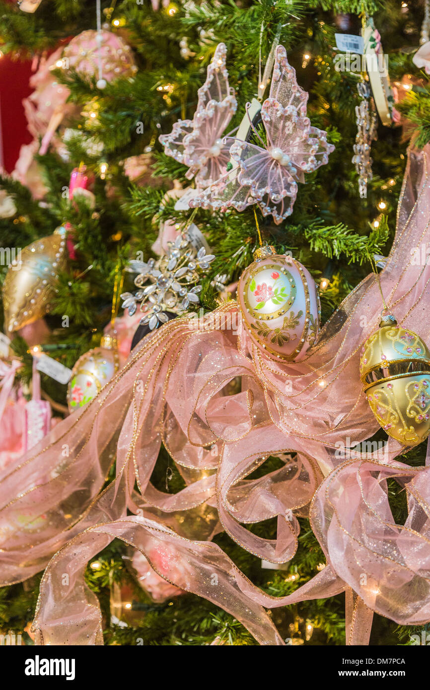 Gold And Pink Christmas Decorations And Pink Ribbon On A Richly Stock Photo Alamy