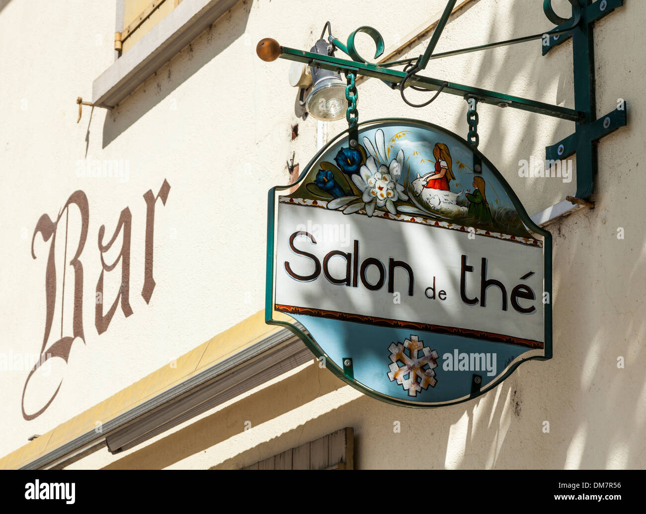 Salon de The sign in the village of Beaufort, Savoie, France - Stock Image