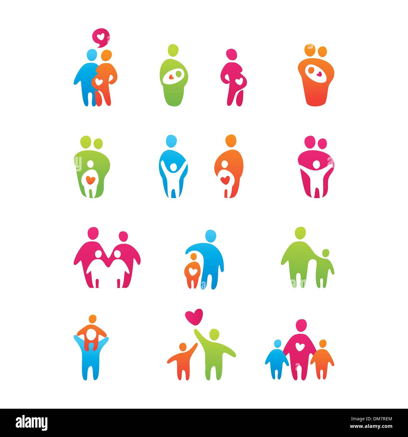 icons-kids-and-parents - Stock Vector
