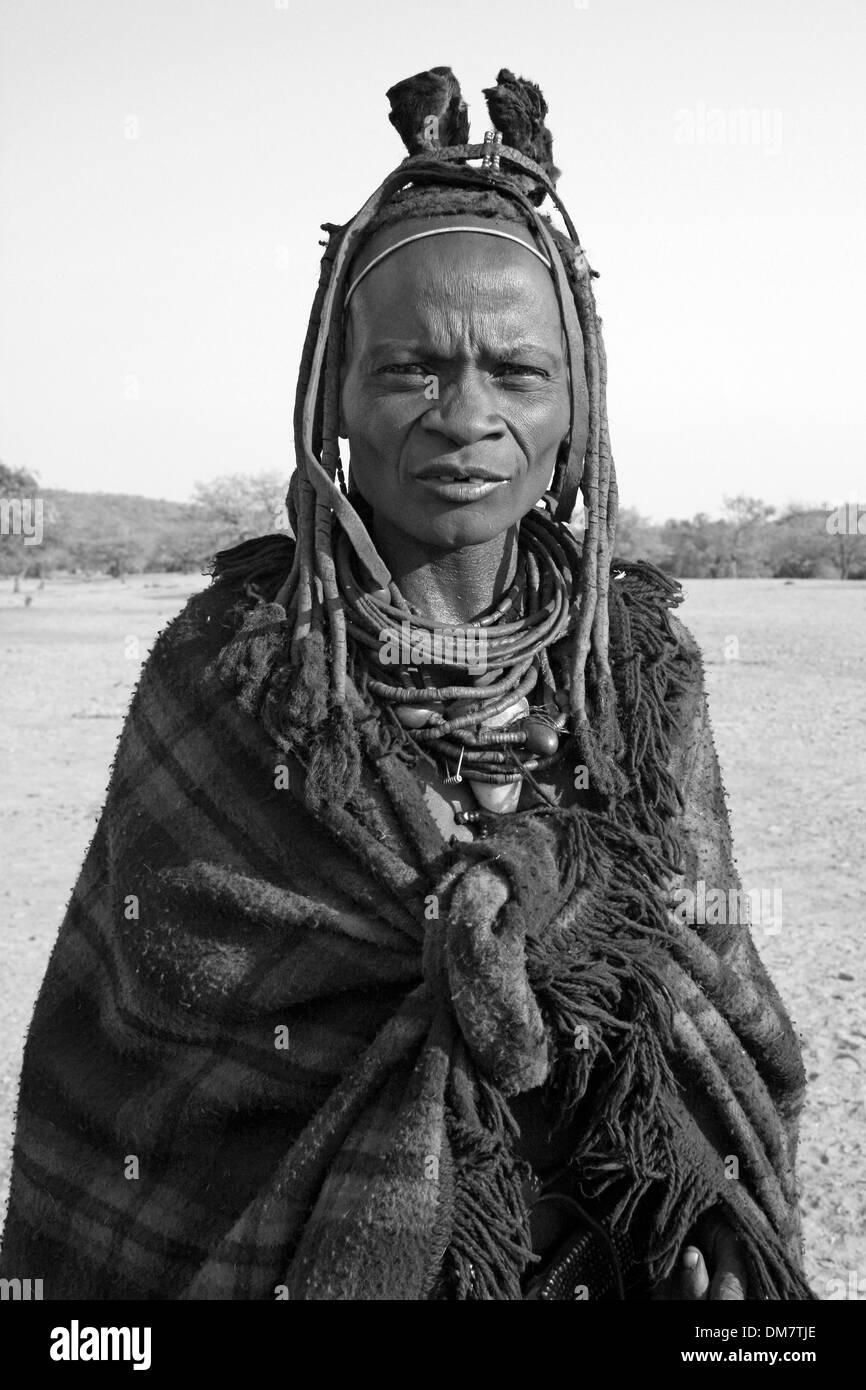 Elder Himba Tribe Woman In Traditional Dress, Kunene River, Namibia, Africa Stock Photo