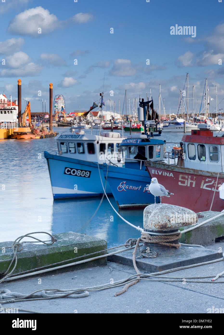 Fishing boats moored in the harbour at Scarborough on the Yorkshire coast. - Stock Image