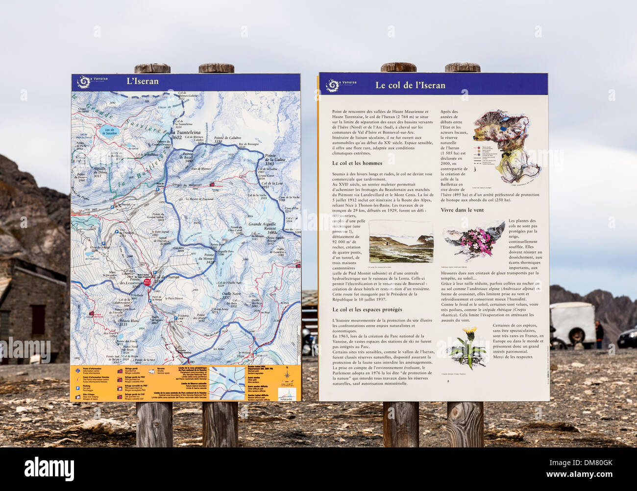 Col d'Iseran flaura, fauna and walking map information boards at the Col d'Iseran, Savoie, France - Stock Image