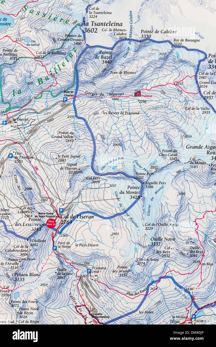 Col d'Iseran topographical map, Cold d'Iseran, Savoie, France. - Stock Image