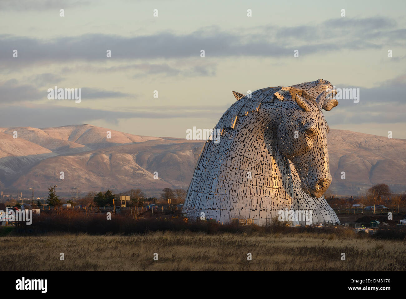The Kelpies sculpture of two horses at The Helix Park in Falkirk Scotland - Stock Image