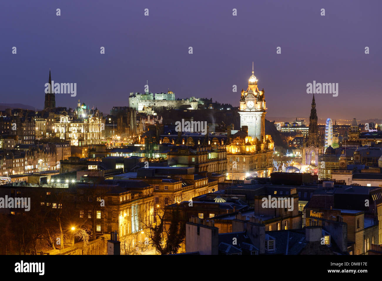 Edinburgh city centre at night viewed from Calton Hill - Stock Image