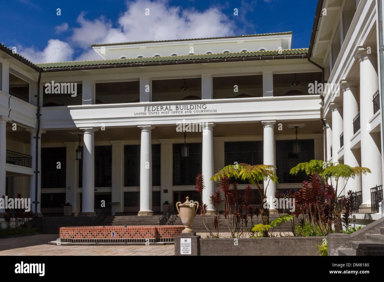 USA, Hawaii, Hawaii (Big) Island, Hilo, Federal building - Stock Image