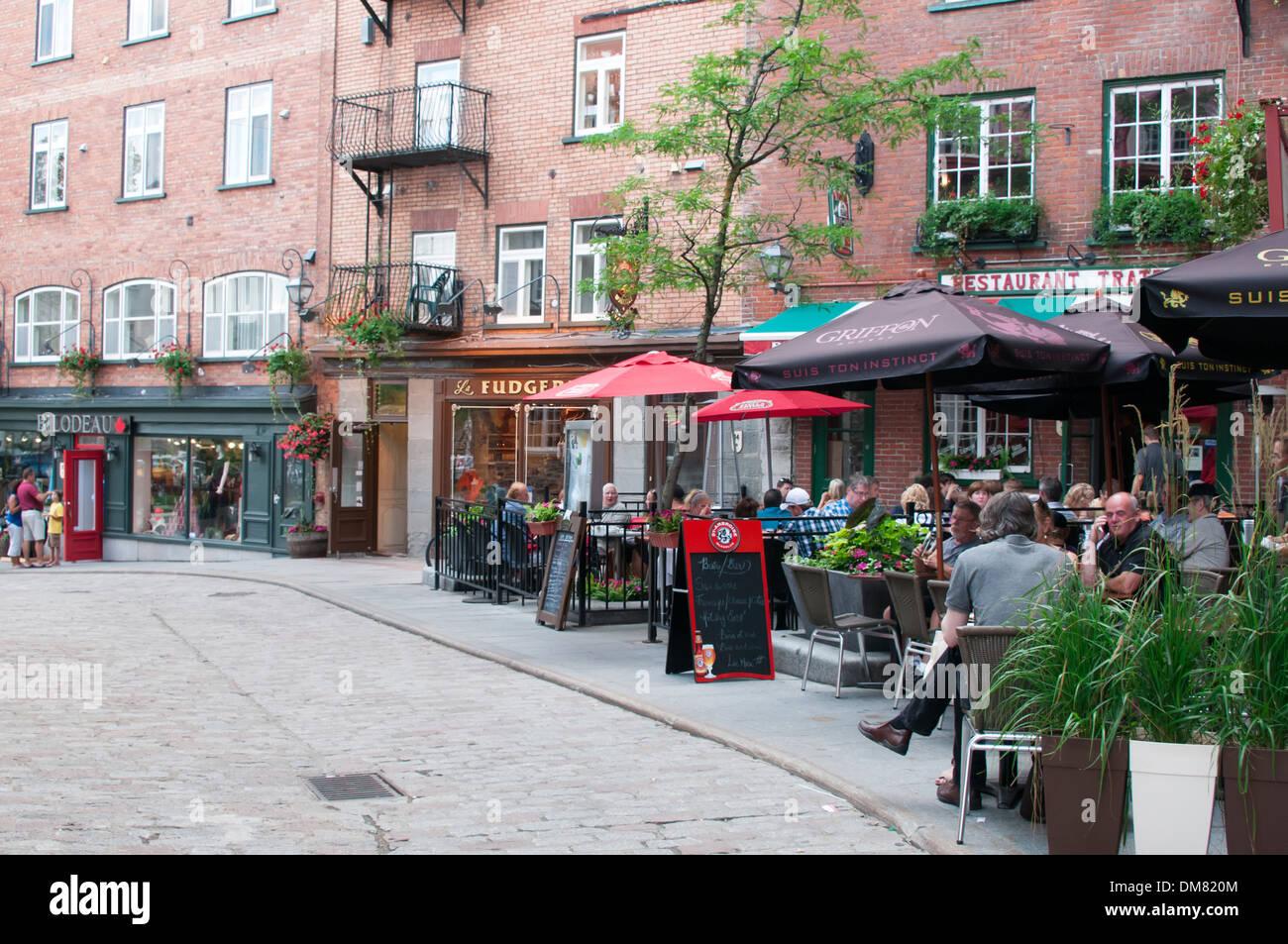 Terraces Of Restaurants Old Quebec City Canada Stock Photo 64101428