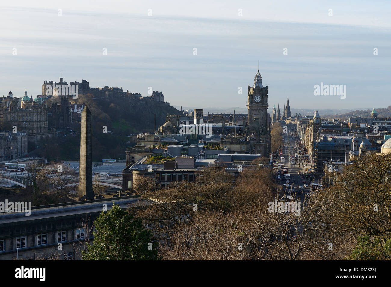 Edinburgh city centre viewed from Calton Hill - Stock Image