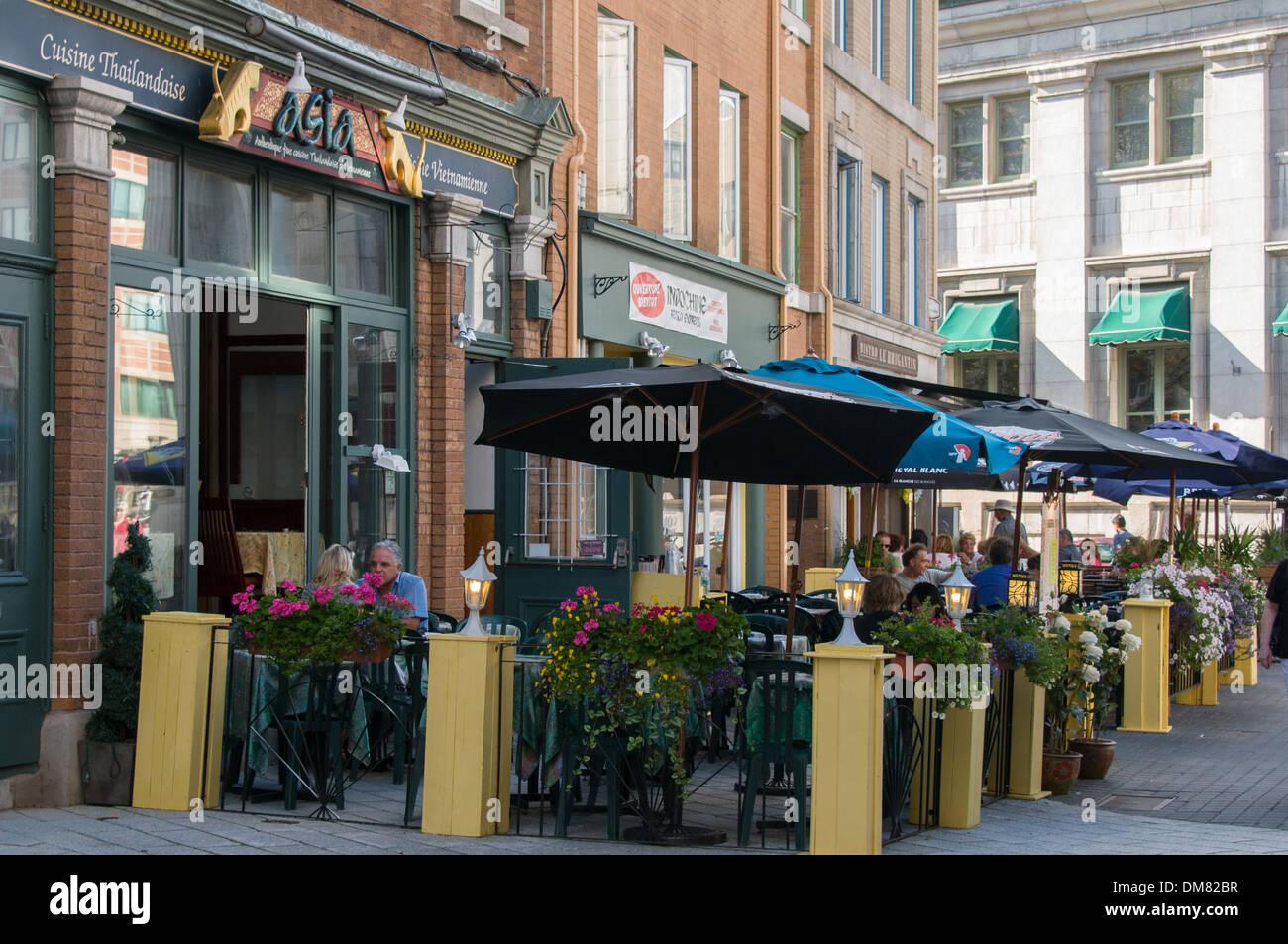 Terraces Of Restaurants Old Quebec City Canada Stock Photo 64101739