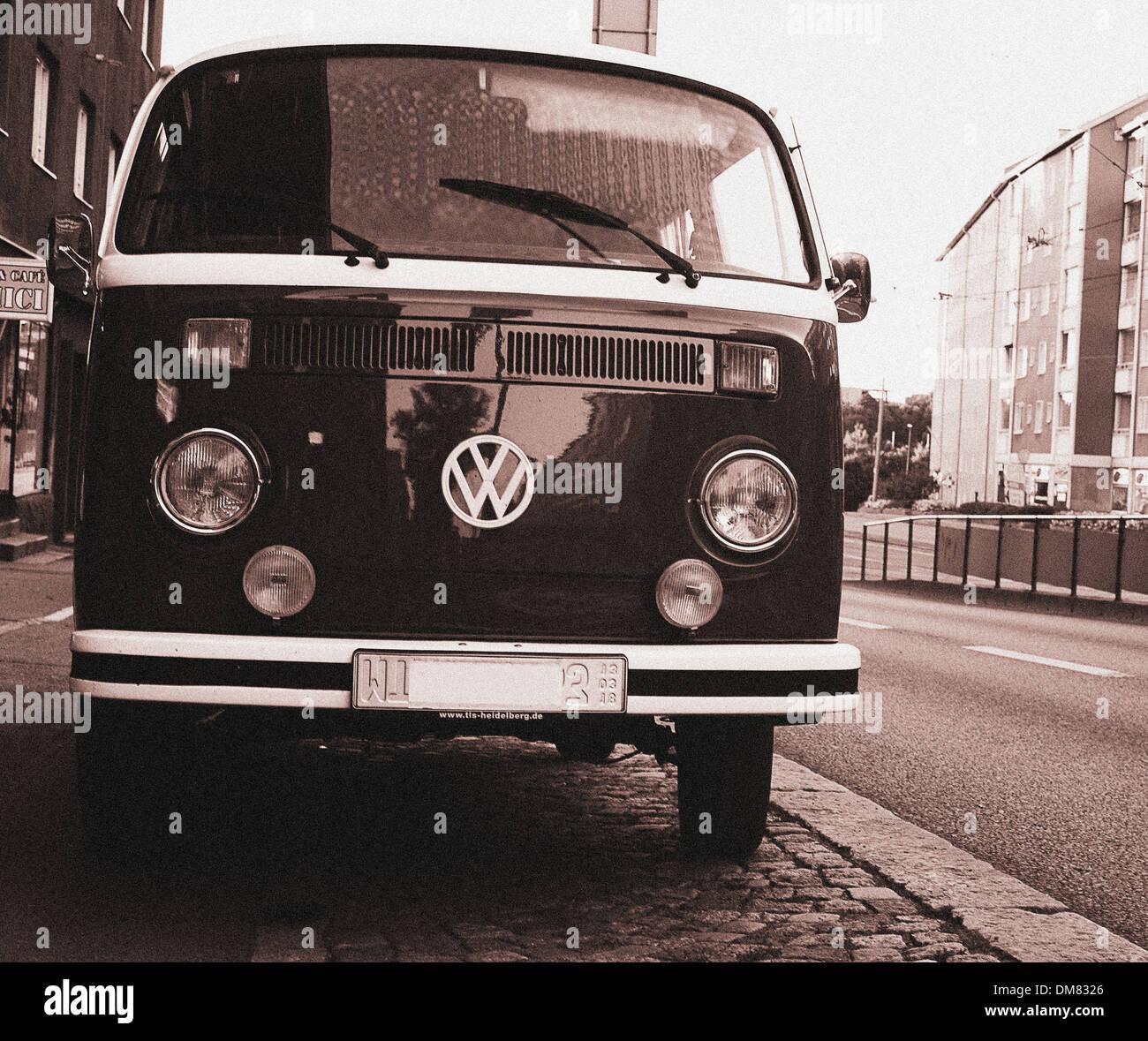 Old hippy Volkswagen van from the seventies - Stock Image