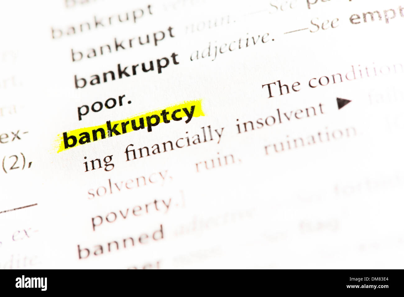 'Bankruptcy' Definition highlighted - Stock Image
