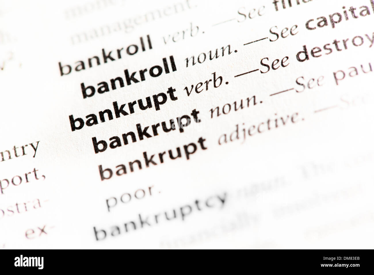 "bankrupt"" definition stock photo: 64102595 - alamy"