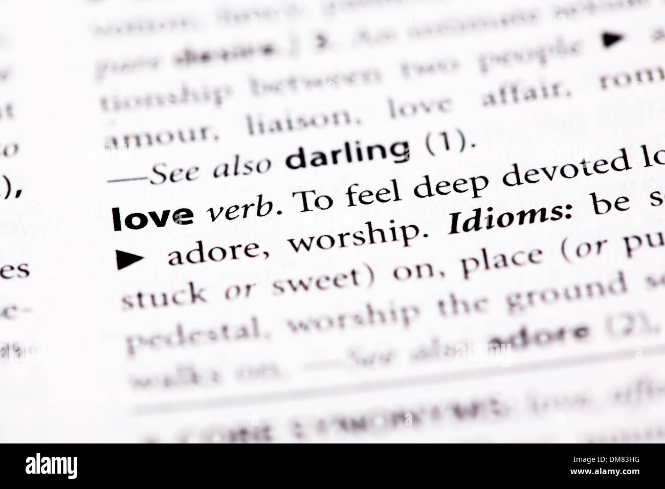 dictionary definition love stock photos & dictionary definition love