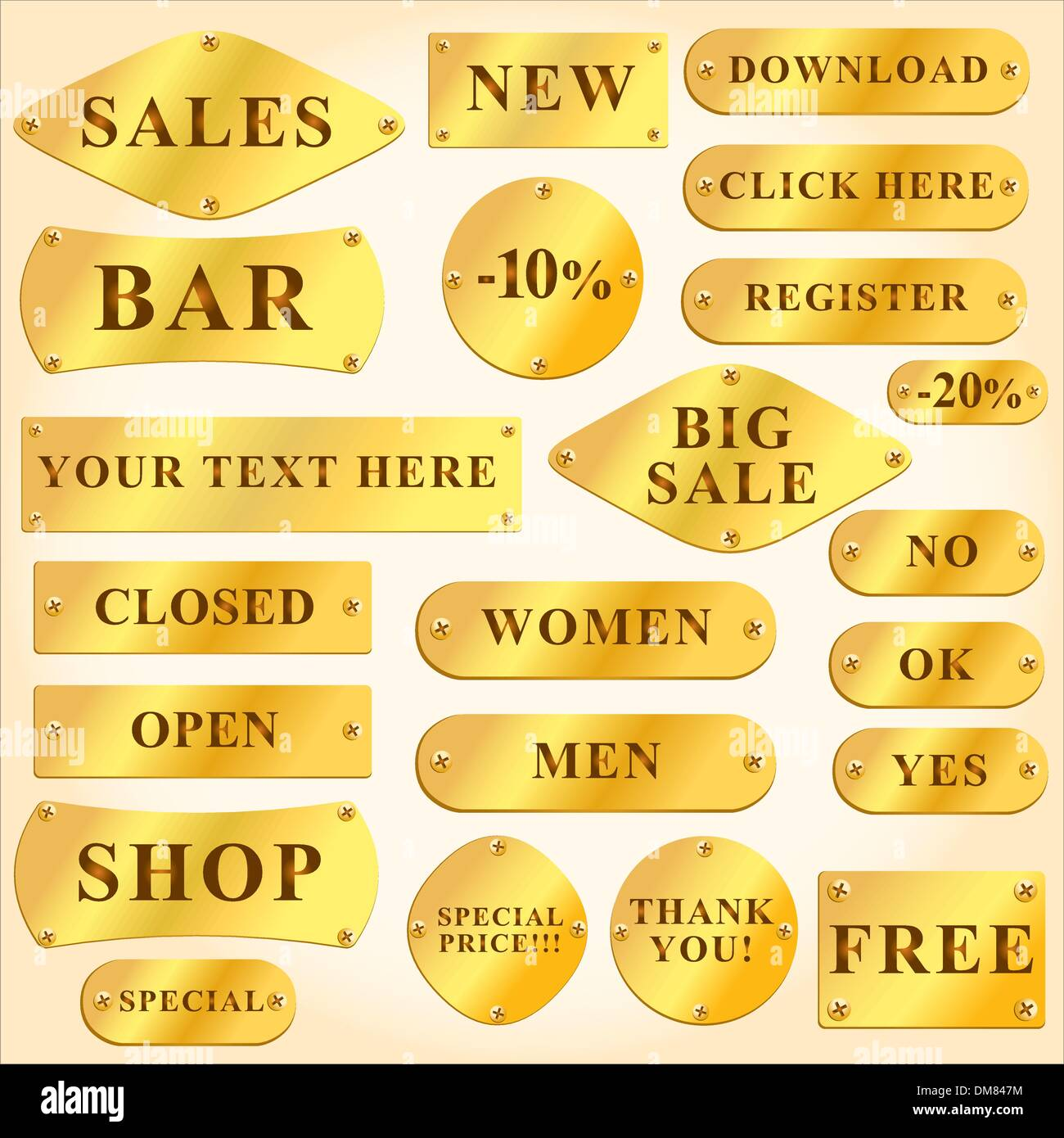 Vector Old golden and signboards with text and symbols - Stock Image