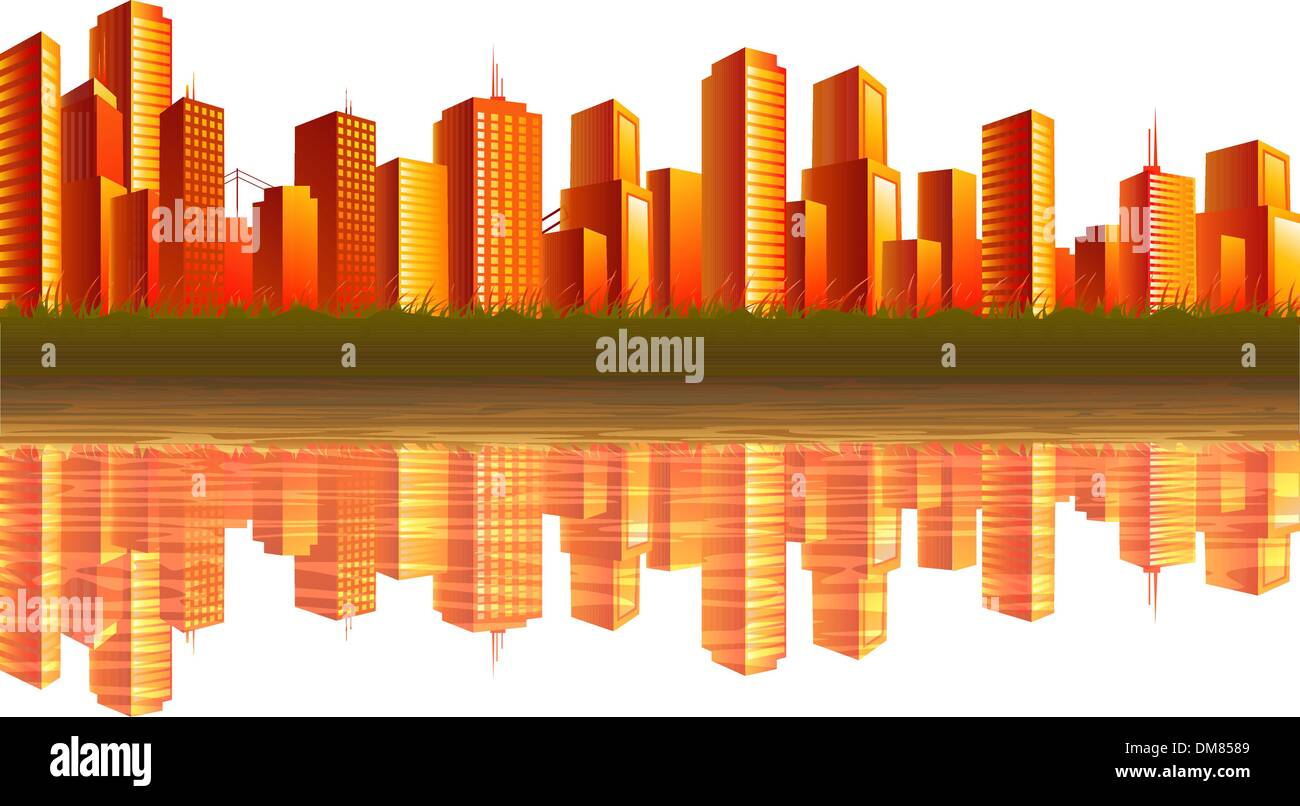 Sunset city - Stock Vector