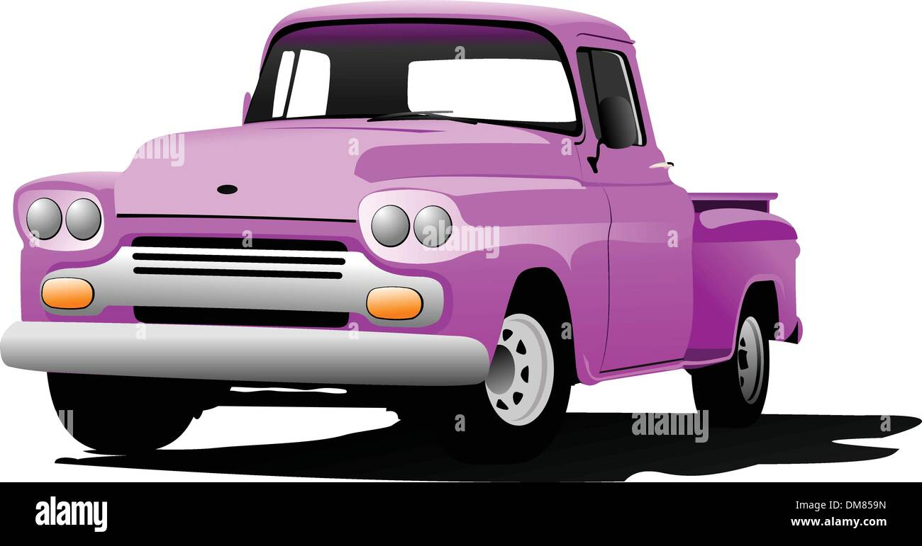 Old pink pickup with badges removed. Vector illustration Stock Vector