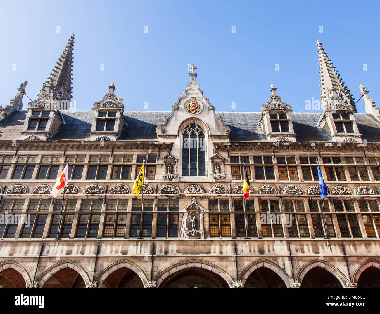 Buildings and architecture of the old town of Ypres in Grote Markt, Ypres, Belgium Stock Photo
